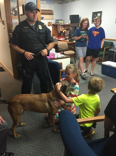 Bellefontaine Police dog Arco at 2015 Alan Galvez Insurance customer appreciation event
