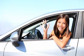 teen girl holding keys