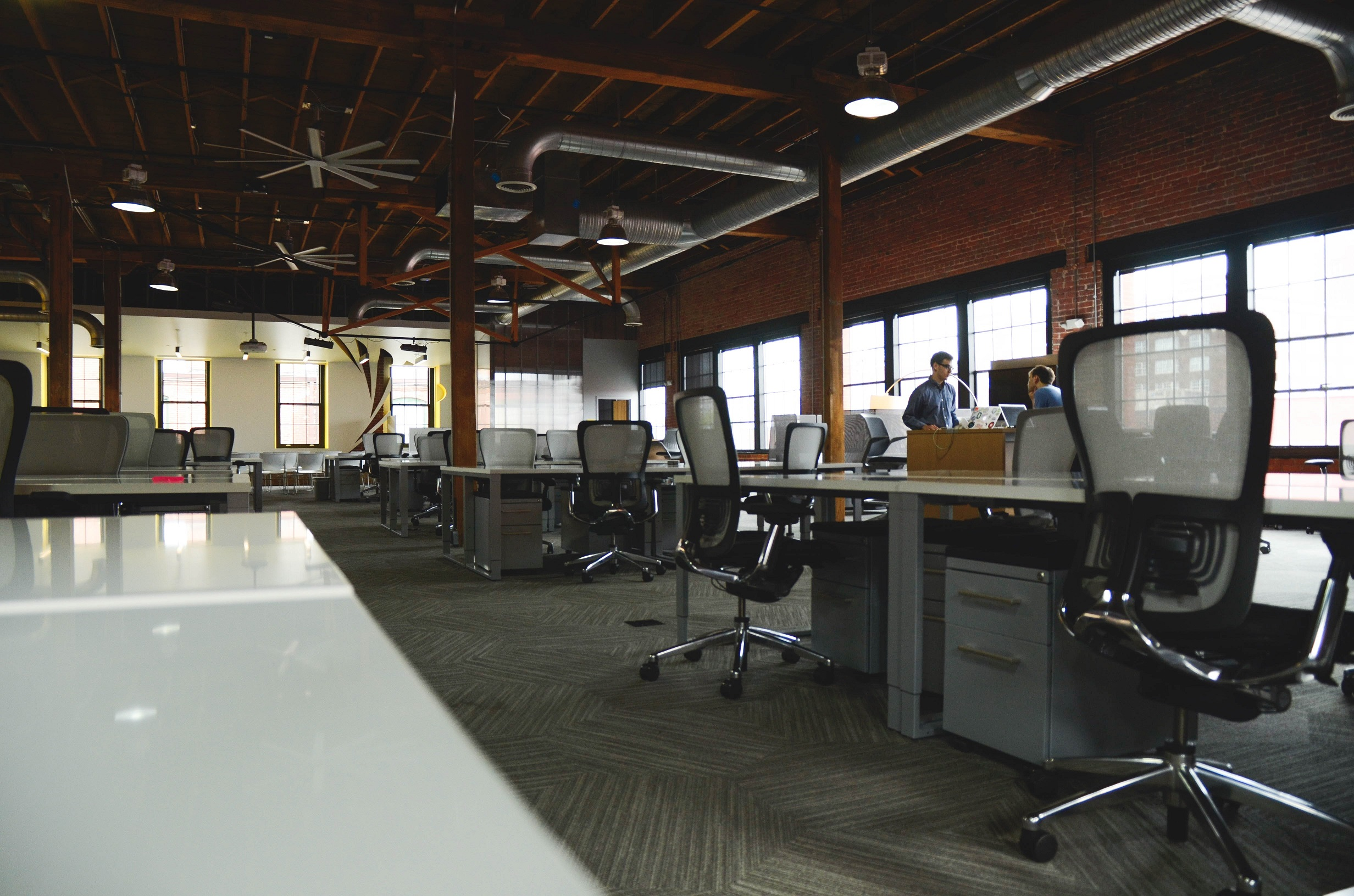Open office plan with chairs and long tables