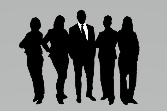 Silhouette of men and women standing in business attire