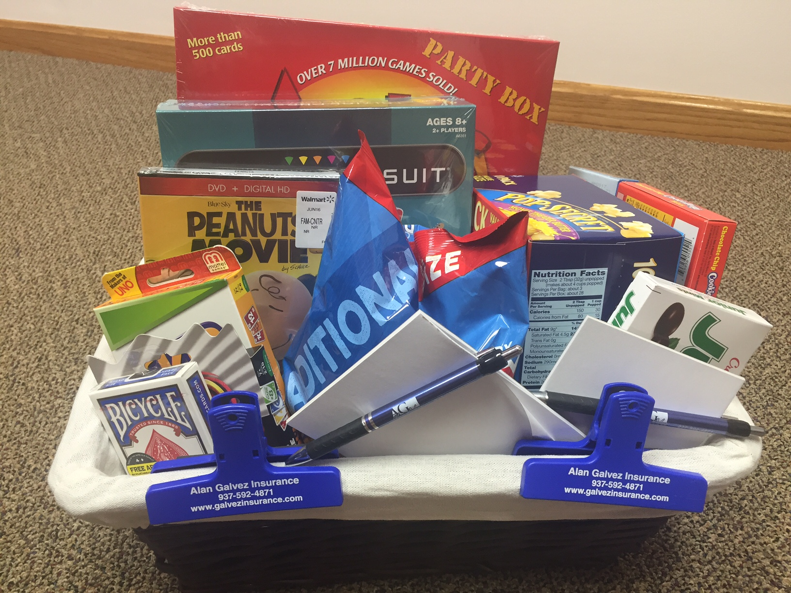 Bellefontaine Community Safety Event- Family Fun Night basket- Alan Galvez Insurance