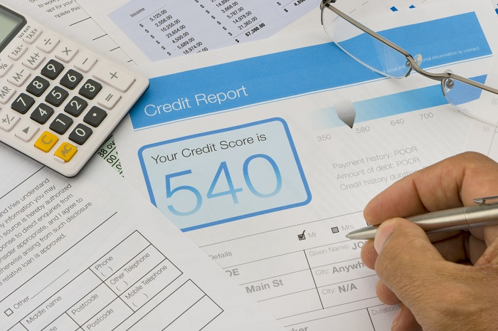 paper with credit score report