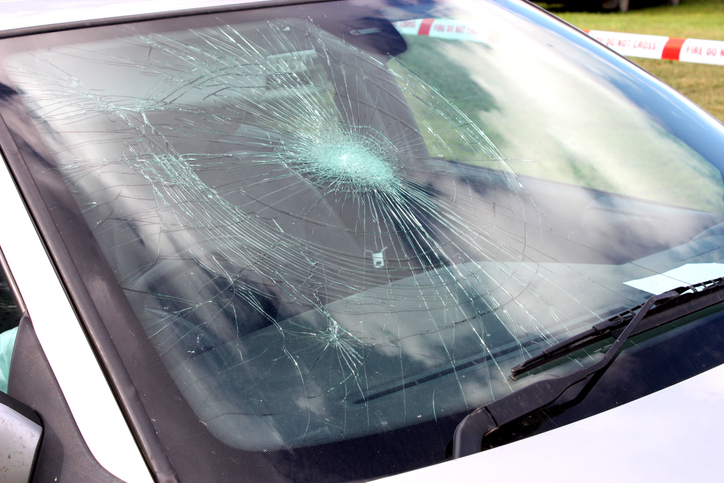 Picture of car with cracked windshield