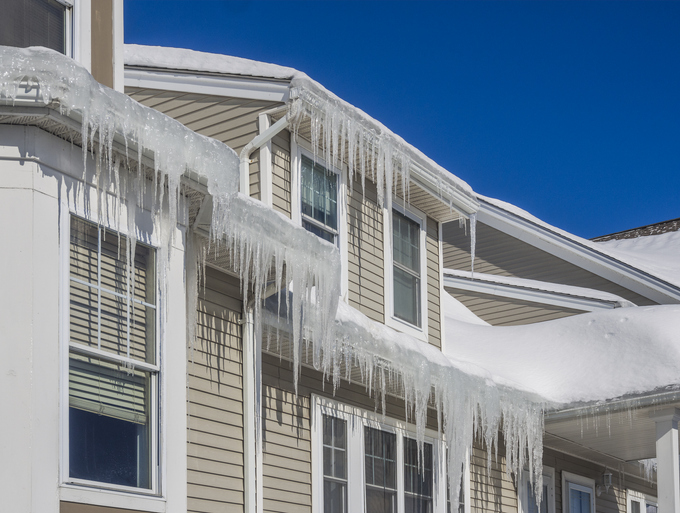 Ice on the roof of home