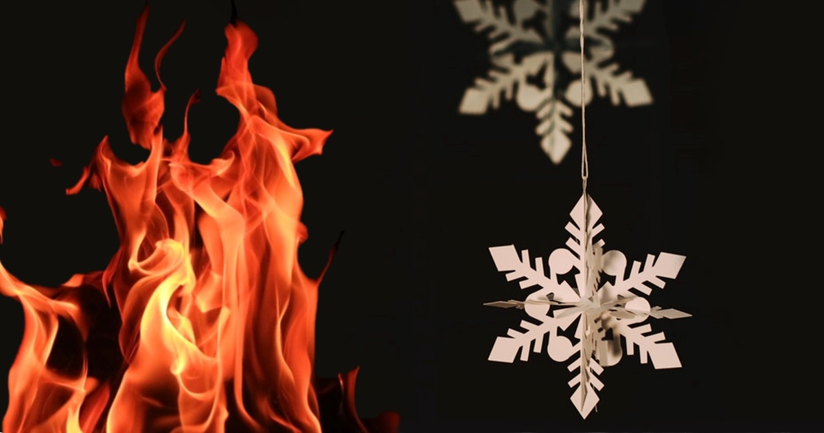 Photo of fire and holiday decorations