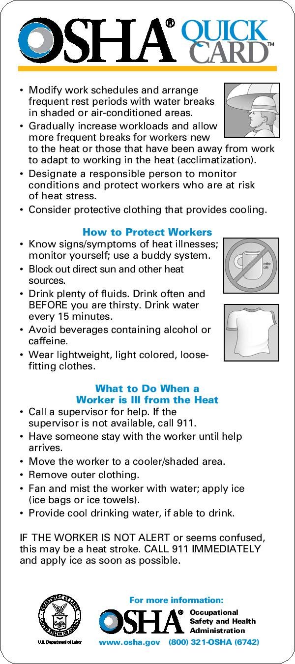 OSHA Protecting Workers from Heat Stress Page 2