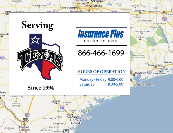 Insurance Plus Agencies of Texas (210)399-2741 is your Commercial Liability Insurance Agency serving Elmendorf, Texas. Call our dedicated agents anytime for a Qoute. We are here for you 24/7 to find the Texas Insurance that's right for you.